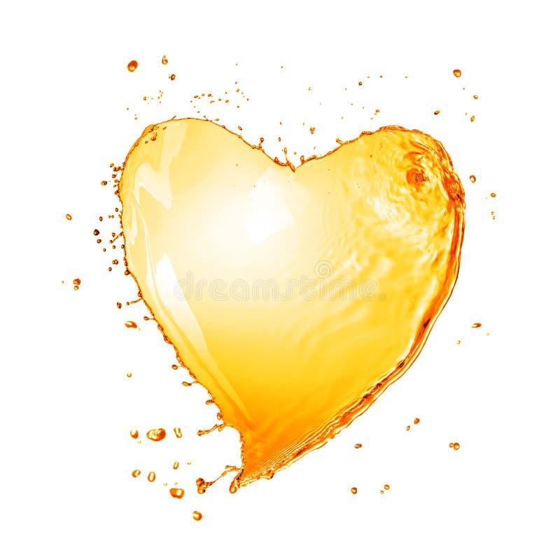 Corazón del chapoteo amarillo del agua con las burbujas aisladas en blanco fotografía de archivo libre de regalías