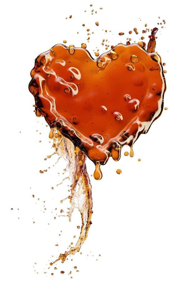 Corazón del chapoteo de la cola con las burbujas aisladas en blanco foto de archivo
