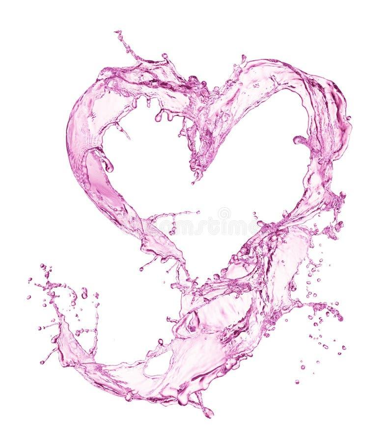 Corazón del chapoteo del agua con las burbujas fotos de archivo libres de regalías