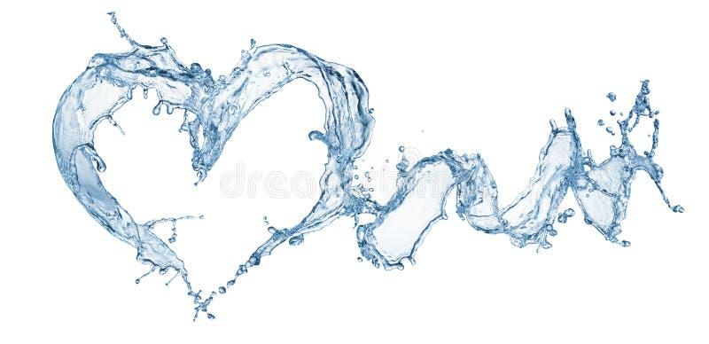 Corazón del chapoteo del agua con las burbujas imagen de archivo libre de regalías