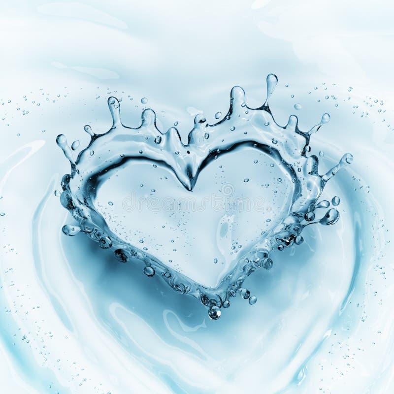 Corazón del chapoteo del agua con las burbujas en fondo del agua azul foto de archivo libre de regalías