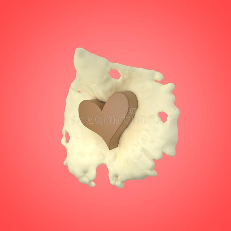 Corazón del chocolate con crema foto de archivo libre de regalías