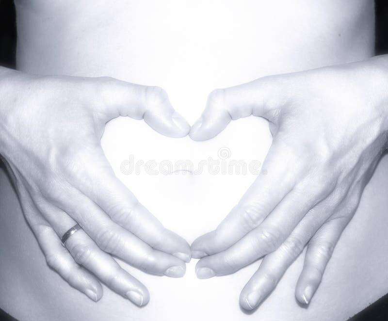 Corazón del concepto del embarazo de la mujer embarazada en el estómago foto de archivo libre de regalías