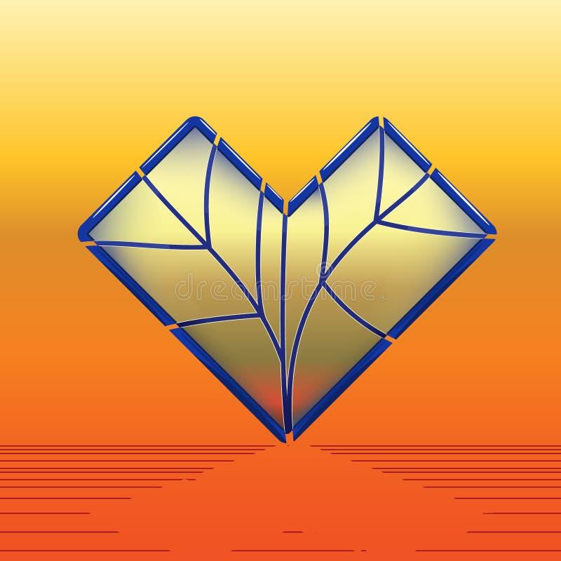 Corazón del cristal de colores con bordear azul stock de ilustración