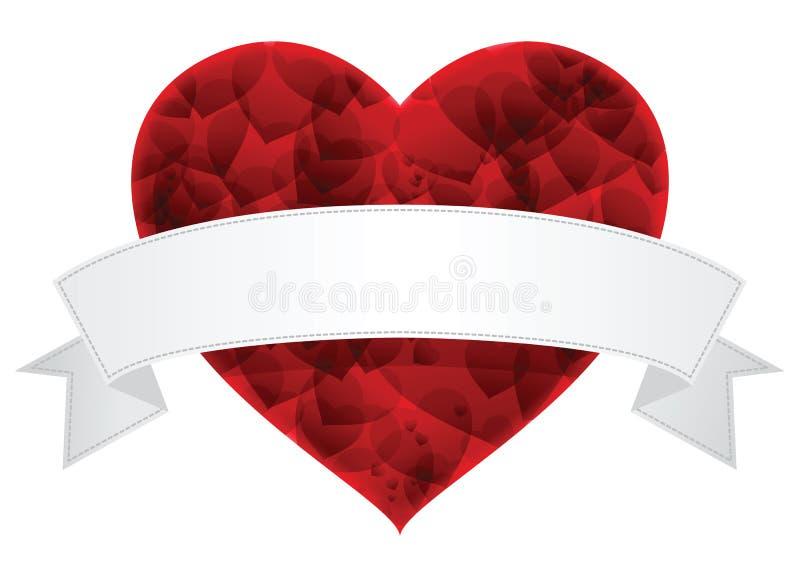 Corazón del día de tarjeta del día de San Valentín con el vector blanco de la etiqueta foto de archivo