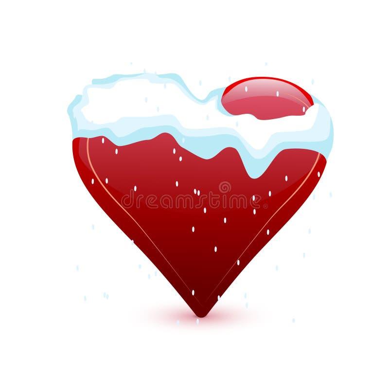 Corazón del día de tarjeta del día de San Valentín en la nieve stock de ilustración