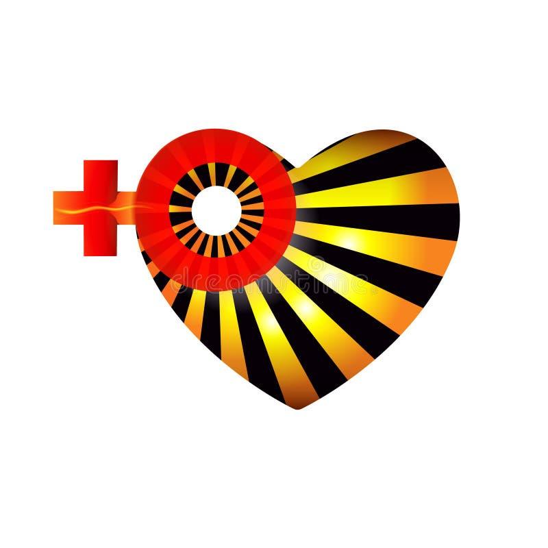Corazón del día o del 8 de marzo de las tarjetas del día de San Valentín con las mujeres de la muestra del género creativas Un sí stock de ilustración