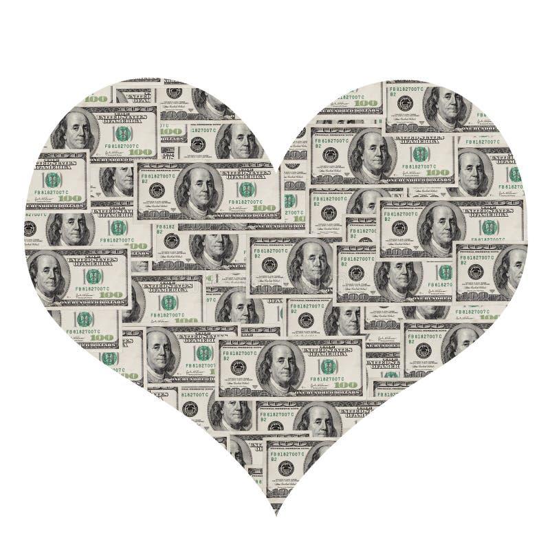 Corazón del dólar fotos de archivo