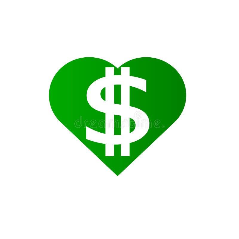 Corazón del dólar en color verde stock de ilustración