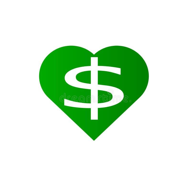 Corazón del dólar Dólar en el corazón ilustración del vector