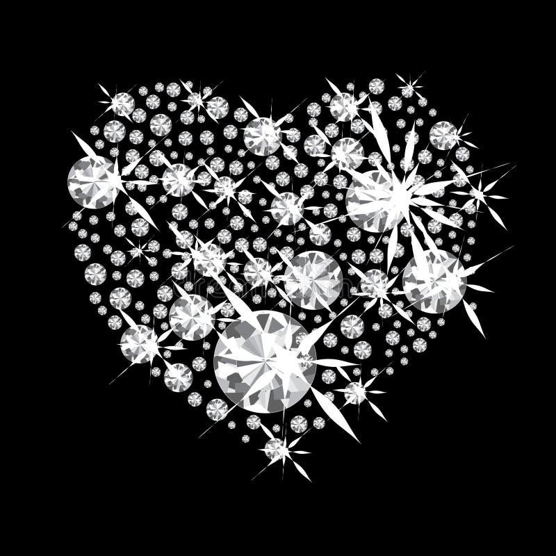 Corazón del diamante stock de ilustración