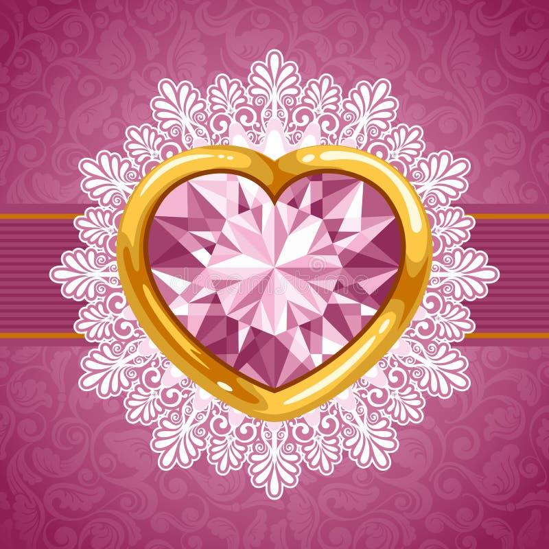 Corazón Del Diamante En Marco De Oro Ilustración del Vector ...