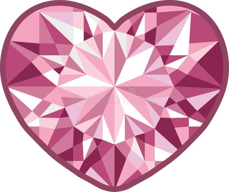 Corazón del diamante en un fondo blanco Vector fotos de archivo