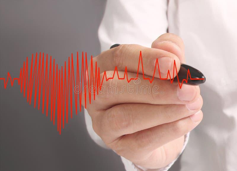 Corazón del dibujo de la mano con el marcador foto de archivo libre de regalías