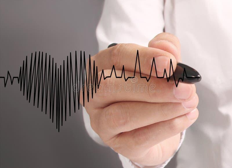 Corazón del dibujo de la mano con el marcador imágenes de archivo libres de regalías