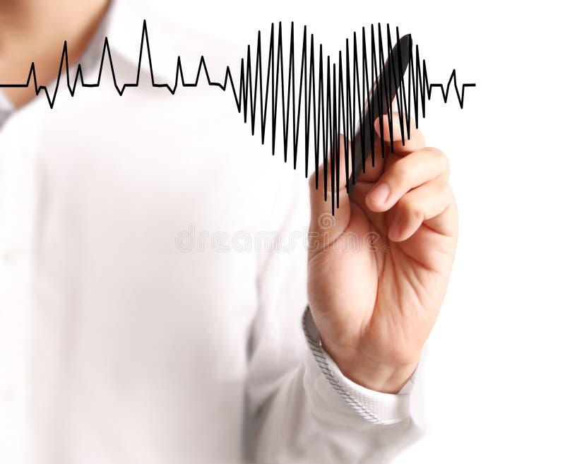 Corazón del dibujo de la mano con el marcador foto de archivo