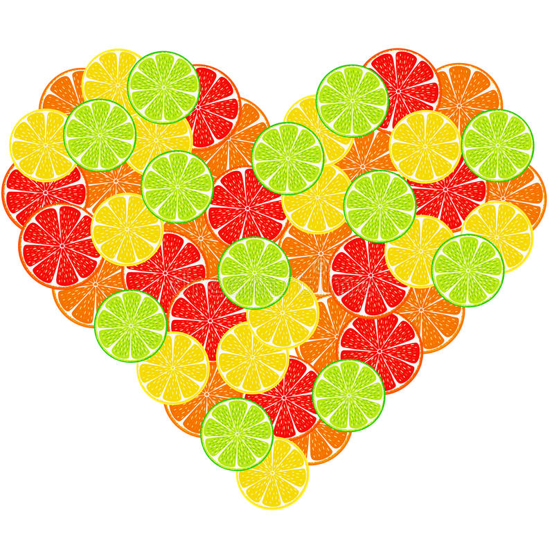 Corazón del fondo de la rebanada de la fruta cítrica ilustración del vector