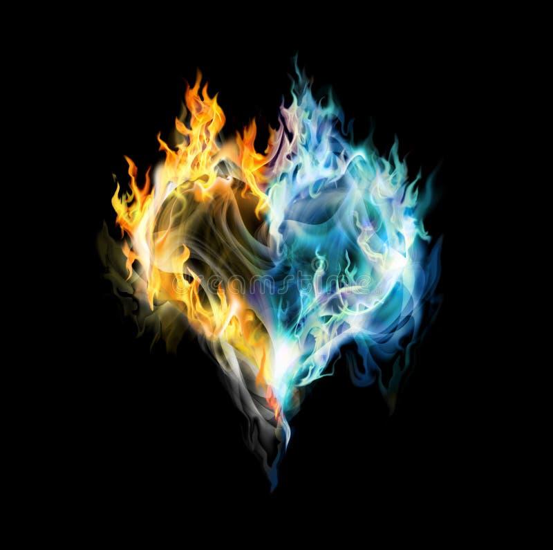 corazón del Fuego-hielo ilustración del vector