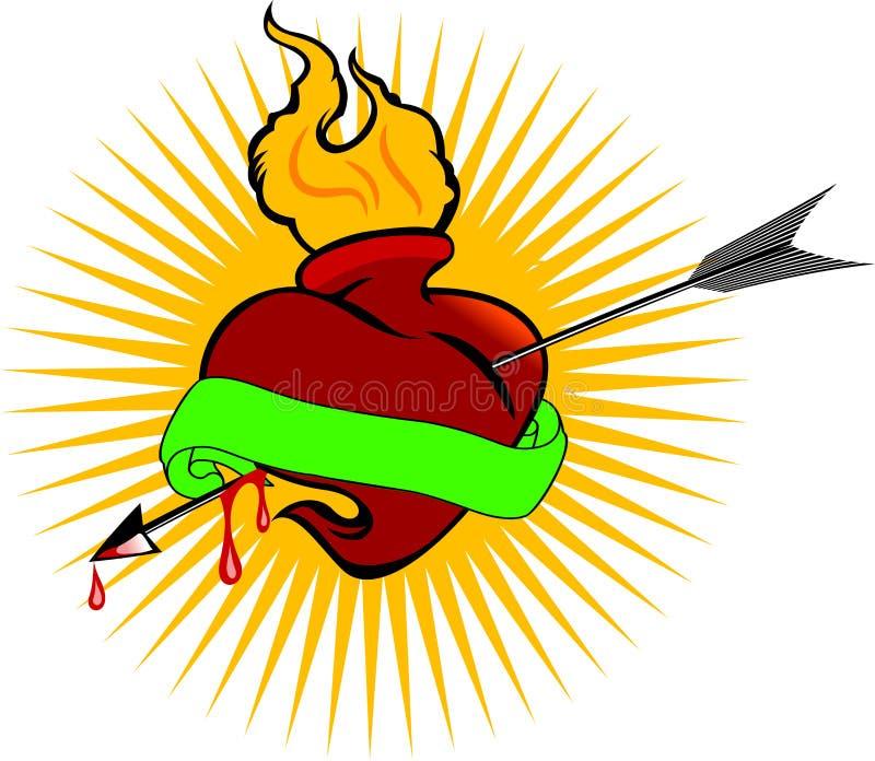 Corazón Del Fuego Y Flecha De La Pasión Foto de archivo libre de regalías