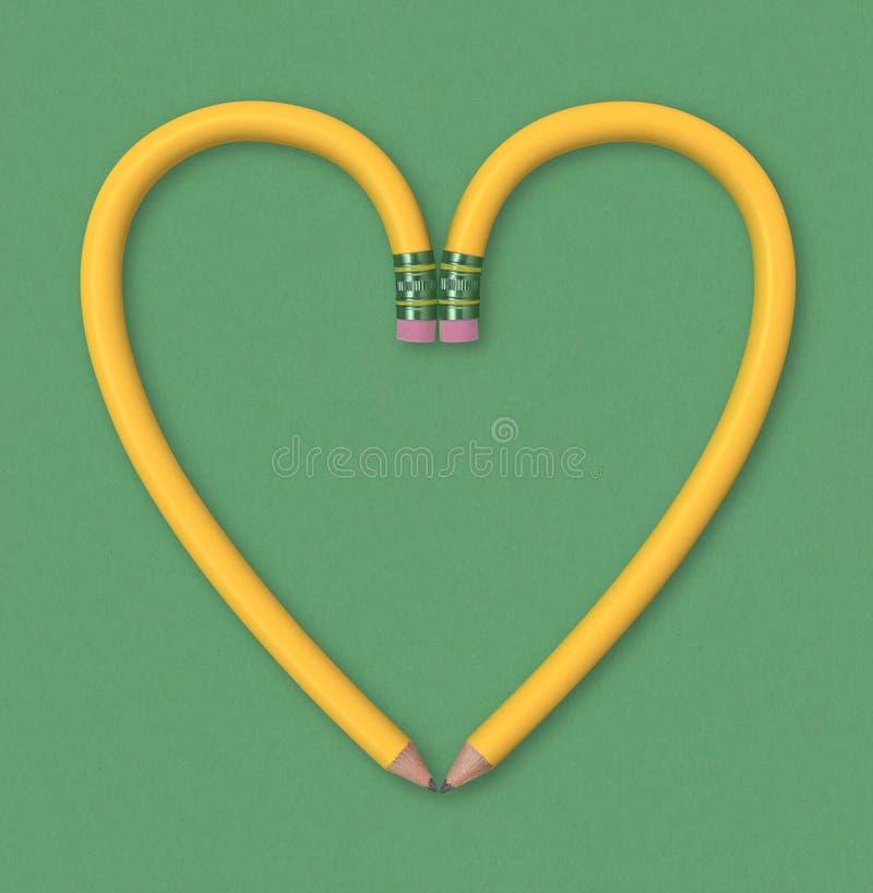 Corazón del lápiz foto de archivo libre de regalías