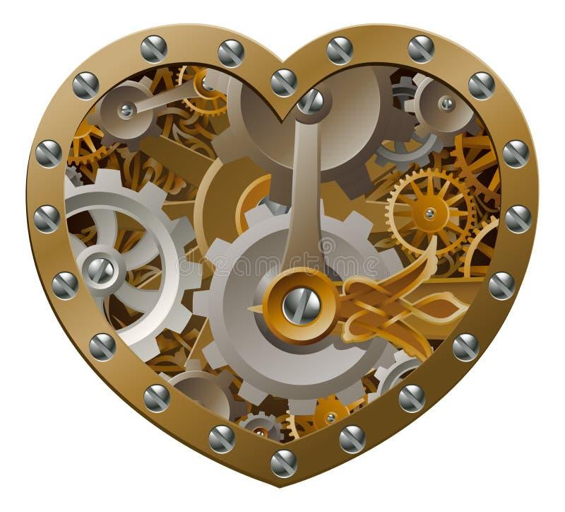 Corazón del mecanismo de Steampunk stock de ilustración