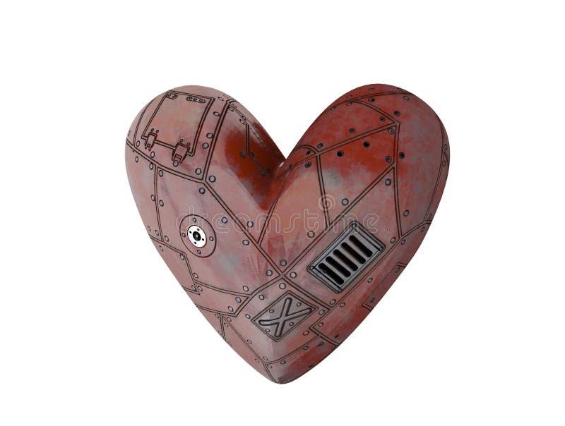 Corazón del metal, corazón del robot, motor, 3d rendir stock de ilustración