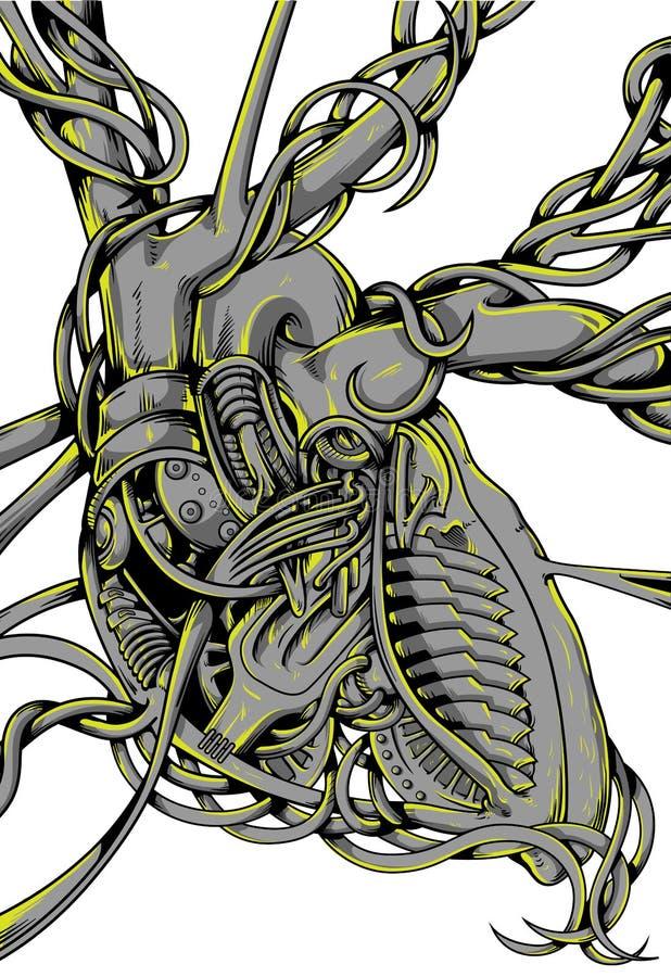 Corazón del motor stock de ilustración