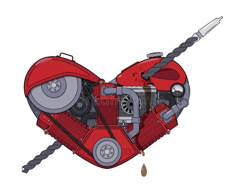 Corazón del motor perforado con un taladro como una flecha en el estilo de steampunk Vector stock de ilustración