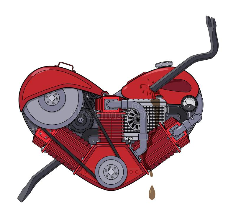 Corazón del motor perforado con una palanca como una flecha en el estilo de steampunk Vector stock de ilustración