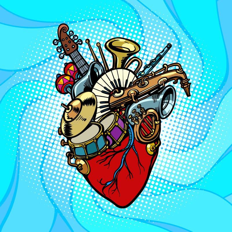 Corazón del musical de la orquesta del jazz ilustración del vector