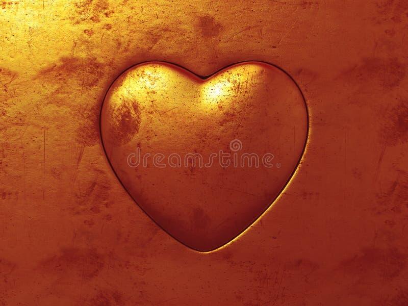 Corazón del oro ilustración del vector
