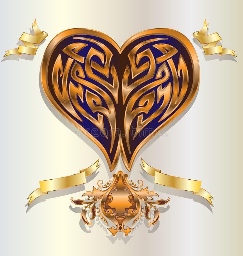 Corazón del oro stock de ilustración