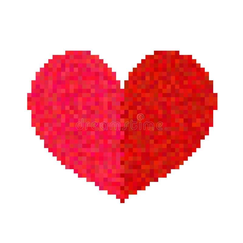 Corazón del pixel aislado en el fondo blanco stock de ilustración
