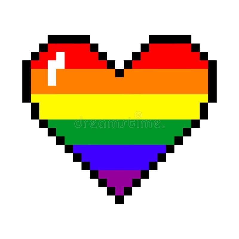 Corazón del pixel del arco iris del vector ilustración del vector