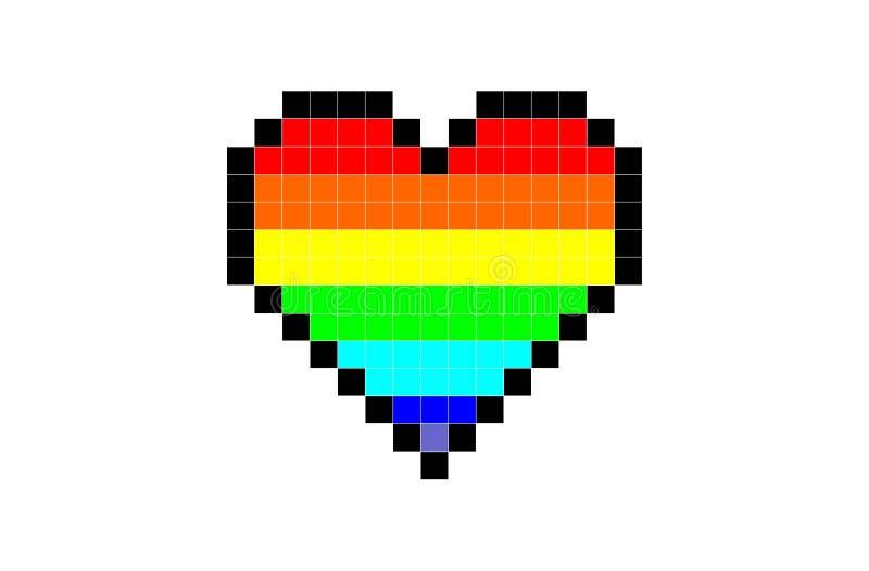 Corazón del pixel del color del arco iris stock de ilustración