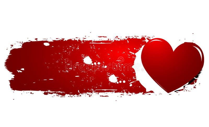 Corazón del rojo de Grunge ilustración del vector