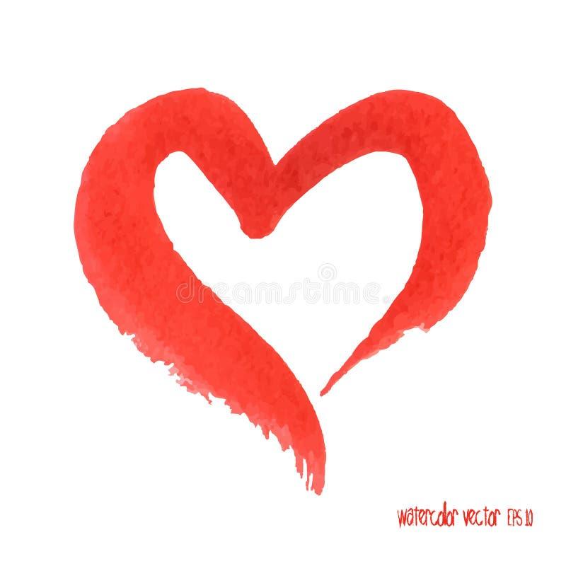 Corazón del rojo de la acuarela Elemento del diseño Amor del símbolo ilustración del vector