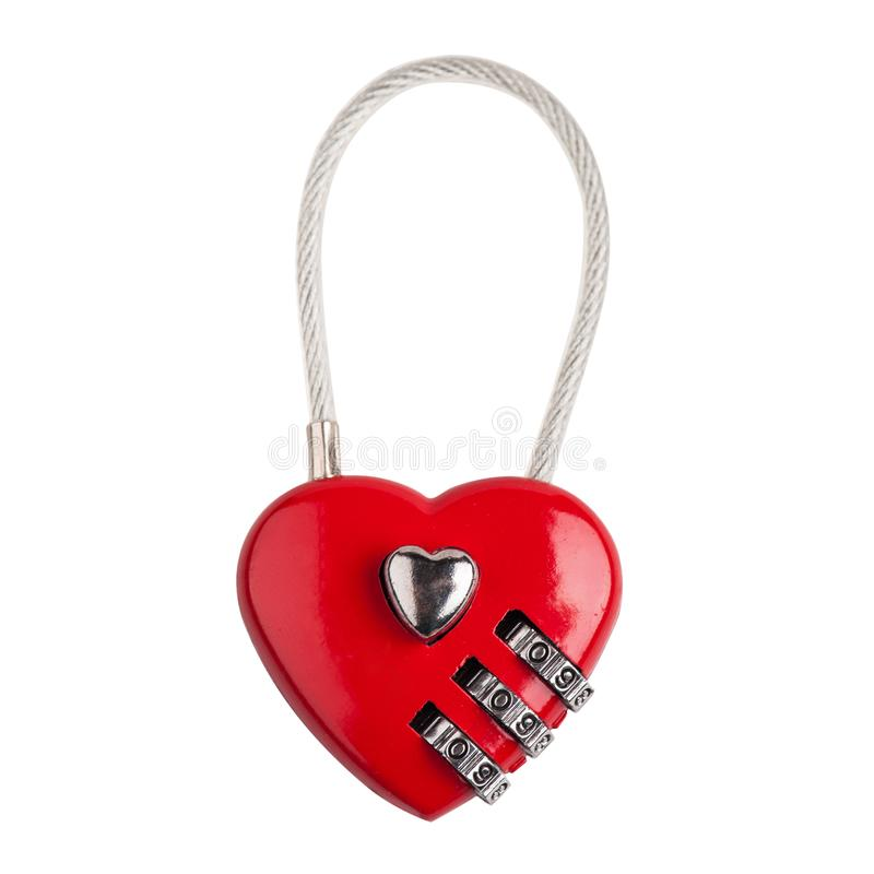 Corazón del rojo de la cerradura de combinación foto de archivo libre de regalías