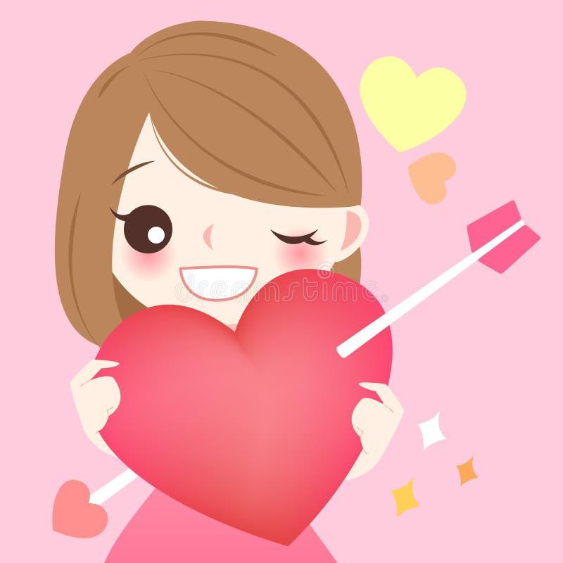 Corazón del rojo del control de la muchacha ilustración del vector