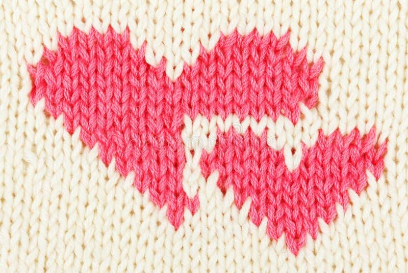 Corazón del rojo del Knit dos fotos de archivo