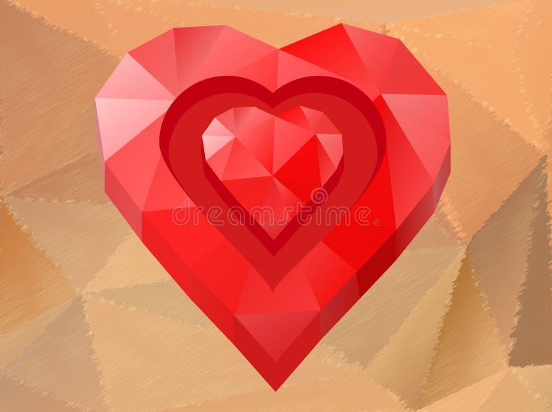 Corazón del rojo del polígono libre illustration