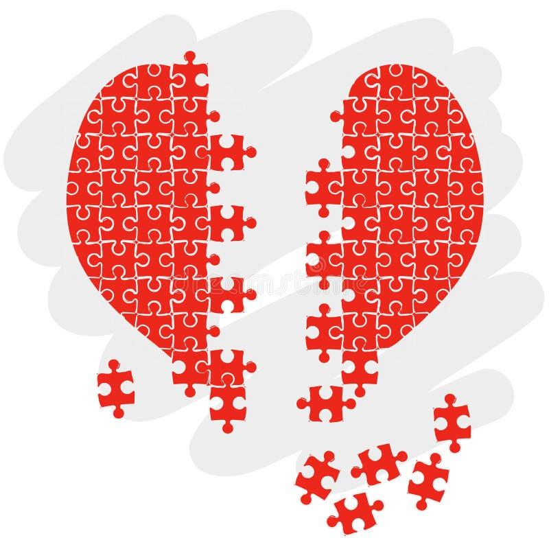 Corazón del rompecabezas stock de ilustración