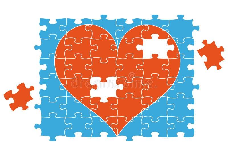 Corazón del rompecabezas de rompecabezas, vector ilustración del vector