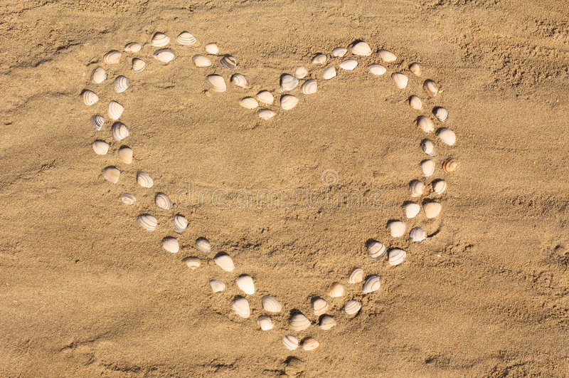 Corazón del Seashell fotografía de archivo libre de regalías