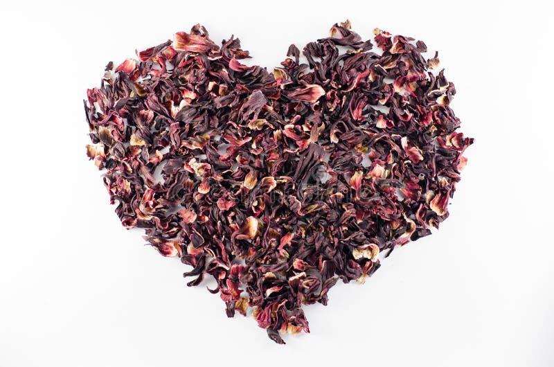 Corazón del té rojo del hibisco fotografía de archivo libre de regalías
