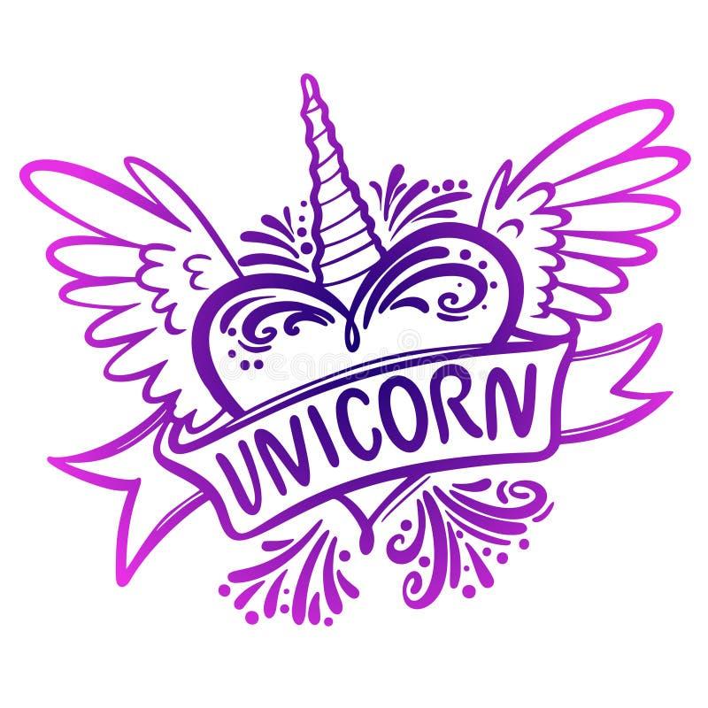 Corazón del unicornio con las alas Ejemplo del logotipo libre illustration