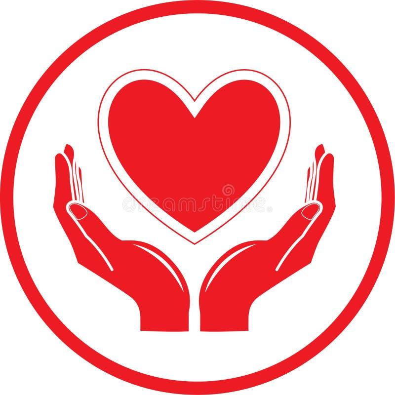 Corazón del vector e icono de las manos libre illustration