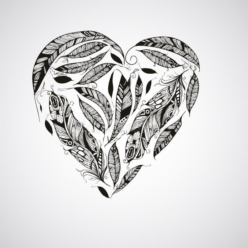 Corazón del vector hecho de plumas stock de ilustración