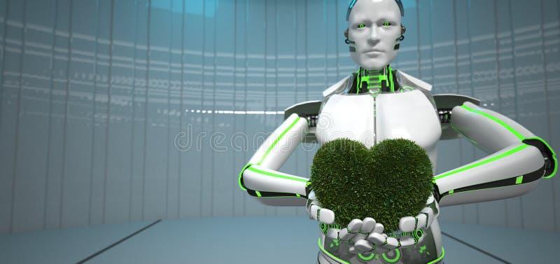Corazón del verde del robot de Eco imagen de archivo libre de regalías
