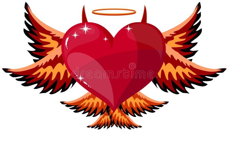 Corazón diabólico con los cuernos y las alas ilustración del vector